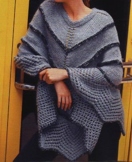 Ponchos tejidos a dos agujas :: Como tejer un poncho de lana ...