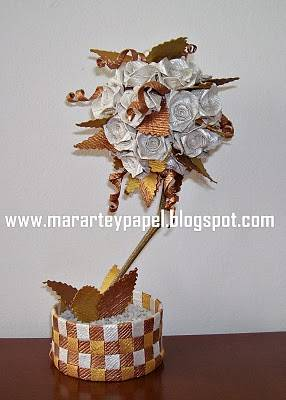 Centro de mesa para boda con flores de papel :: Arreglo floral para