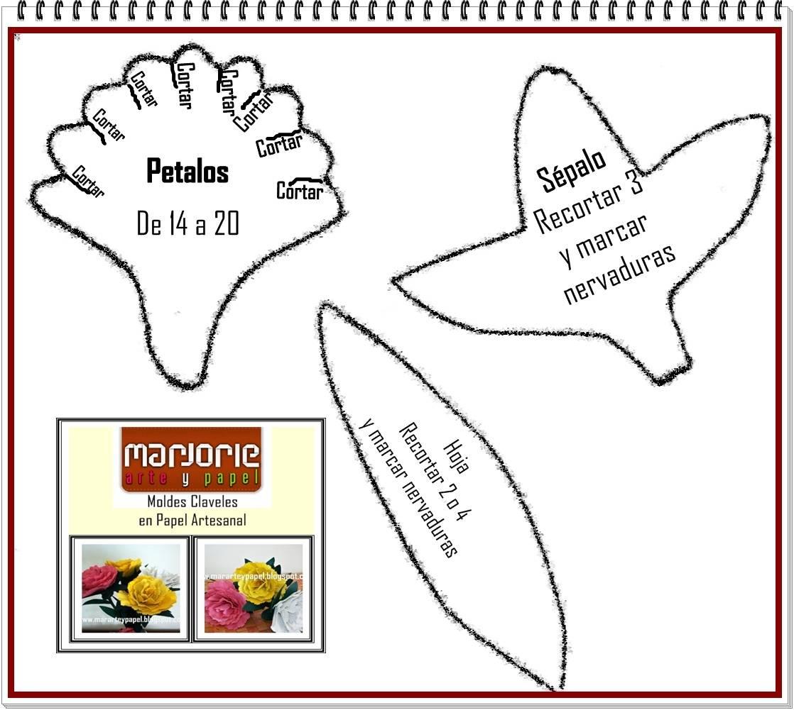 Plantillas de flores para imprimir :: Claveles en papel artesanal ...